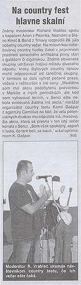Senčan September 2003: Na country fest hlavne skalní