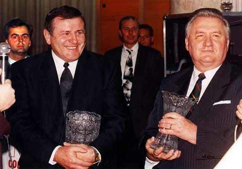 Vladimír Mečiar a Michal Kováč v dobe, keď ešte boli priatelia. Ja som tam tiež (ako ináč?:).