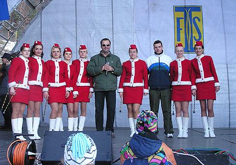 Momentka z Európskeho pohára v lyžovaní žien 21.až 23. februára 2004 Plejsy-Krompachy.