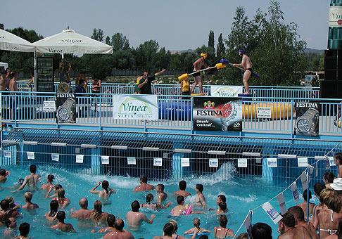 Oslava 30. narodenín nápoju Vinea na kúpalisku Vadaš v Štúrove. 31.7.2004.